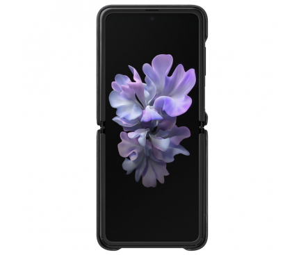 Husa Piele Samsung Galaxy Z Flip F700 / Samsung Galaxy Z Flip 5G F707, Leather Cover, Neagra, Blister EF-VF700LBEGEU