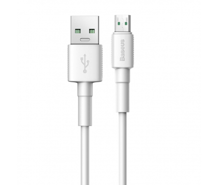Cablu Date si Incarcare USB la MicroUSB Baseus 4A, 0.5 m, Alb, Blister CAMSW-C02