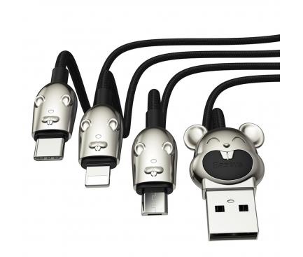 Cablu Date si Incarcare USB la Lightning - USB la MicroUSB - USB la USB Type-C Baseus Three Mouse 3in1, 3,5A, 1.2 m, Negru, Blister CAMLT-MU01