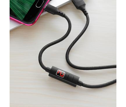 Cablu Date si Incarcare USB la MicroUSB HOCO SELECTED Timing S13, 1.2 m, Negru, Blister