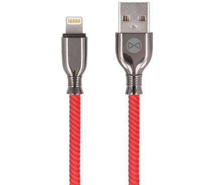 Cablu Date si Incarcare USB la Lightning Forever Core Tornado, 3A, 1 m, Rosu, Blister
