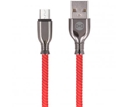 Cablu Date si Incarcare USB la MicroUSB Forever Core Tornado, 3A, 1 m, Rosu, Blister