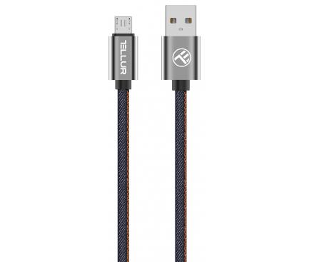 Cablu Date si Incarcare USB la MicroUSB Tellur Denim, 1 m, Albastru, Blister TLL155371