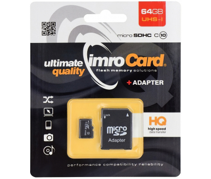 Card Memorie MicroSDXC Imro cu adaptor, 64Gb, Clasa 10 - UHS-1 U1 MicroSD10/64GADPUHS