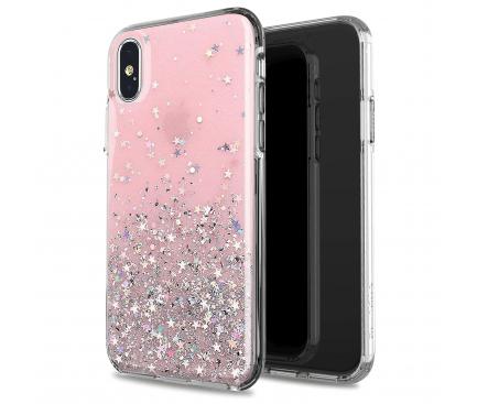 Husa TPU WZK Star Glitter Shining pentru Apple iPhone X / Apple iPhone XS, Roz, Blister