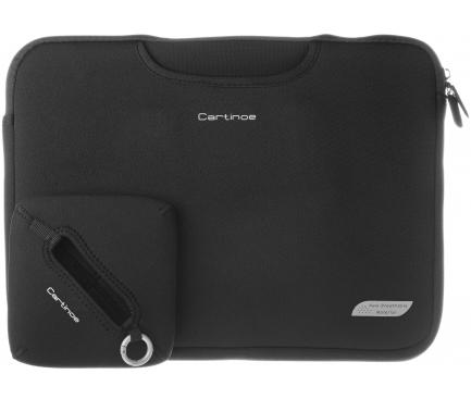 Set geanta textil laptop 15.4 inci + Geanta incarcator + MousePad, Cartinoe Breath, Negru