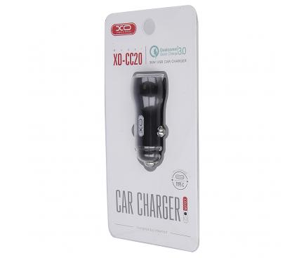 Incarcator Auto USB XO Design CC-20, QC 3.0 + PD, 36W, 1 X USB - 1 X USB Tip-C, Negru, Blister