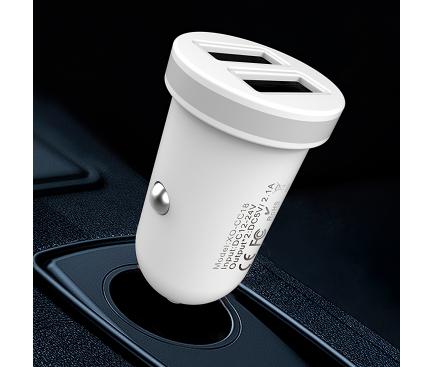 Incarcator Auto cu cablu Lightning XO Design TZ08, 2.1A, 2 X USB, Alb, Blister