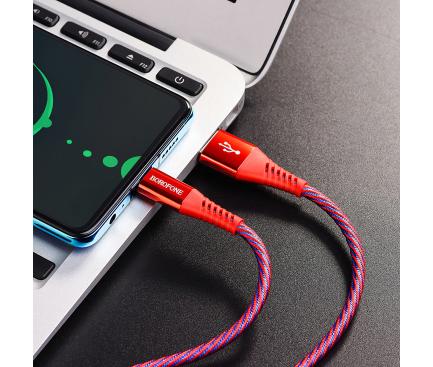 Cablu Date si Incarcare USB la USB Type-C Borofone BU13 Craft, 5A, 1.2 m, Rosu, Blister