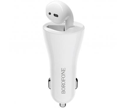 Handsfree Casca Bluetooth Borofone BC23 Touareg, cu suport incarcare auto, MultiPoint, Alb, Blister