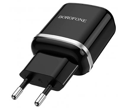 Incarcator Retea cu cablu MicroUSB Borofone BA36A, QC3.0, 18W, 1 X USB, Negru, Blister