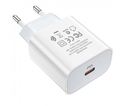 Incarcator Retea cu cablu Lightning Borofone BA38A Speedy PD3.0, 1 X USB Tip-C, Alb, Blister