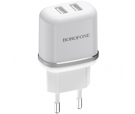 Incarcator Retea cu cablu Lightning Borofone BA25A Outstanding, 2 X USB, Alb, Blister