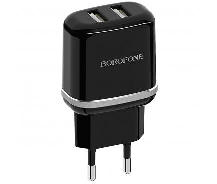 Incarcator Retea cu cablu Lightning Borofone BA25A Outstanding, 2 X USB, Negru, Blister