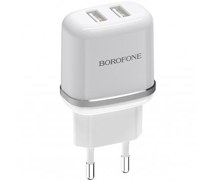 Incarcator Retea USB Borofone BA25A Outstanding, 2 X USB, Alb, Blister