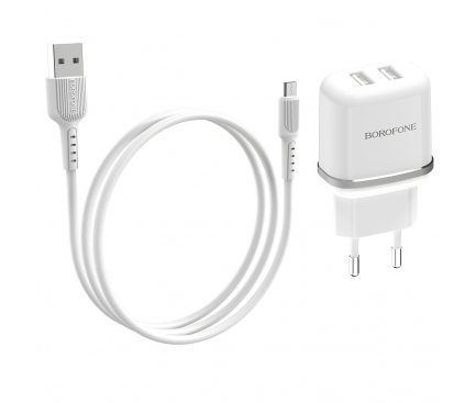 Incarcator Retea cu cablu MicroUSB Borofone BA25A Outstanding, 2 X USB, Alb, Blister