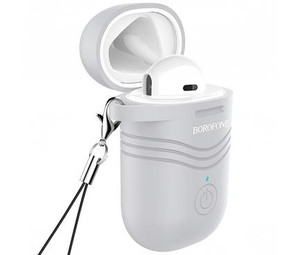 Handsfree Casca Bluetooth Borofone BC19 Hero Sound, cu suport incarcare, Alb, Blister