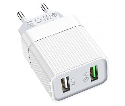 Incarcator Retea cu cablu USB Tip-C Borofone BA39A Speedway QC3.0, 2 X USB, Alb, Blister