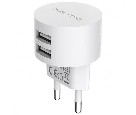 Incarcator Retea USB Borofone BA23A Brilliant, 2 X USB, Alb, Blister