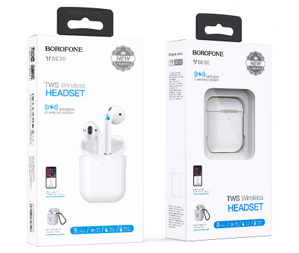 Handsfree Casti Bluetooth Borofone TWS BE30, cu suport incarcare, MultiPoint, Alb, Blister