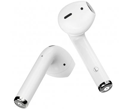 Handsfree Casti Bluetooth Borofone TWS BE28 Plus, cu suport incarcare, MultiPoint, Alb, Blister