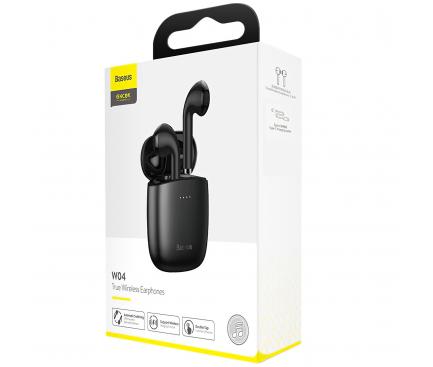 Handsfree Casti Bluetooth Baseus W04 TWS, SinglePoint, Negru, Blister