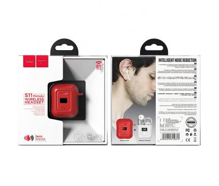 Handsfree Casti Bluetooth HOCO SELECTED Melody S11, cu Baterie Externa (400mAh), Afisaj LED, SinglePoint, Alb, Blister