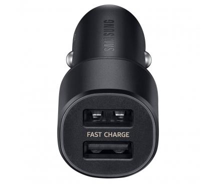 Incarcator Auto USB Samsung 15W + cablu USB Type C, 2 X USB, Negru, Blister EP-L1100WBEGEU