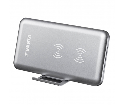 Incarcator Wireless Varta Dual Coin, Fast Wireless, 10W, Argintie, Blister