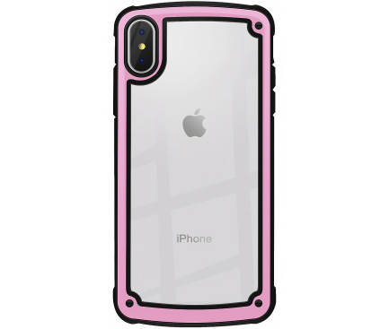 Husa Plastic - TPU OEM Solid Frame pentru Apple iPhone X / Apple iPhone XS, Roz Transparenta, Bulk