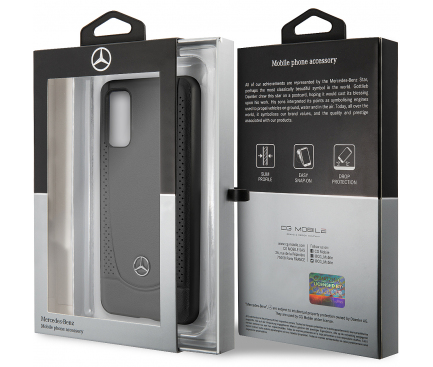 Husa Piele MERCEDES Perforation pentru Samsung Galaxy S20 G980 / Samsung Galaxy S20 5G G981, Neagra, Blister MEHCS62ARMBK