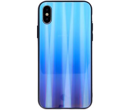 Husa TPU OEM Aurora cu spate din sticla pentru Apple iPhone 7 / Apple iPhone 8 / Apple iPhone SE (2020), Albastra, Bulk