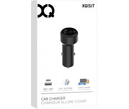 Incarcator Auto USB Xqisit Dual USB, 5.4A, LED, 1 X USB - 1 X USB Tip-C, Negru, Blister