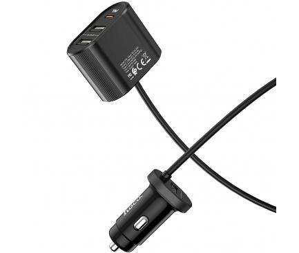 Incarcator Auto USB HOCO Z35 Companheiro, QC 3.0 - PD 3.0, 1 X USB Tip-C - 2 X USB, Cu Fir, Negru, Blister