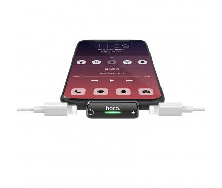 Adaptor Audio Lightning cu port incarcare / audio Lightning HOCO LS27 Dual Port 2A, Gri, Blister