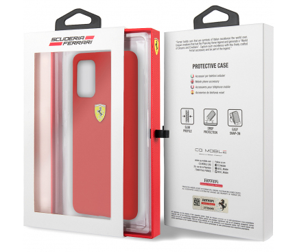 Husa TPU Ferrari SF pentru Samsung Galaxy S20 G980 / Samsung Galaxy S20 5G G981, Rosie, Blister FESSIHCS62RE