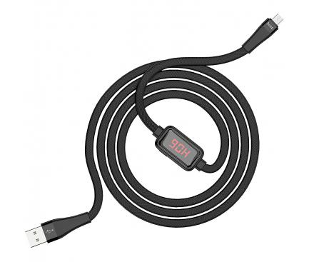 Cablu Date si Incarcare USB la MicroUSB HOCO SELECTED Timing S4, 1.2 m, Negru, Blister