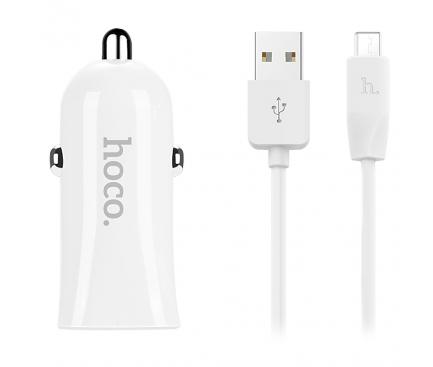 Incarcator Auto cu cablu MicroUSB HOCO Z12 Elite, 2 X USB, Alb, Blister