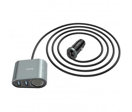 Incarcator Auto USB HOCO Z35A Companheiro,QC 3.0 - PD 3.0 + extenie Bricheta, 2 X USB, Gri, Blister