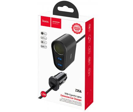 Incarcator Auto USB HOCO Z35A Companheiro,QC 3.0 - PD 3.0 + extenie Bricheta, 2 X USB, Negru, Blister