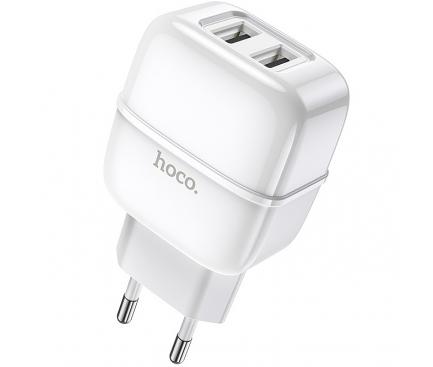 Incarcator Retea USB HOCO C77A, 2 X USB, 2.4A, Alb, Blister