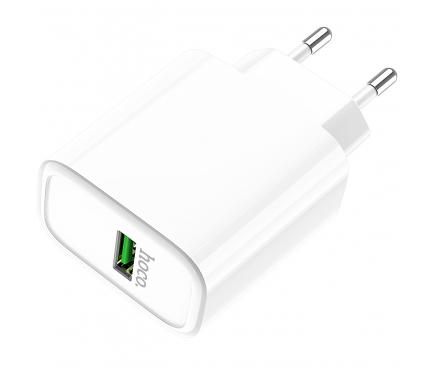 Incarcator Retea cu cablu USB Tip-C HOCO Rapid C69A, 1 X USB, Alb, Blister