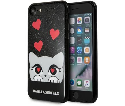 Husa Plastic Karl Lagerfeld Valentine pentru Apple iPhone 7 / Apple iPhone 8 / Apple iPhone SE (2020), Neagra, Blister KLHCP7VDCBK
