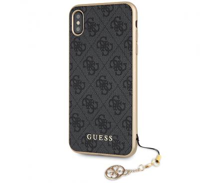 Husa TPU Guess 4G Charms Collection pentru Apple iPhone XS Max, Gri GUHCI65GF4GGR
