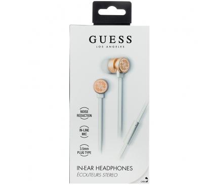Handsfree Casti In-Ear Guess, Cu microfon, 3.5 mm, Alb Auriu, Blister GUEPWIGO