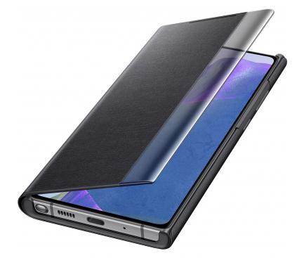 Husa Samsung Galaxy Note 20 N980 / Samsung Galaxy Note 20 5G N981, Clear View, Neagra, Blister EF-ZN980CBEGEU