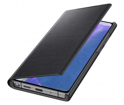 Husa Samsung Galaxy Note 20 N980 / Samsung Galaxy Note 20 5G N981, Led Wallet Cover, Neagra, Blister EF-NN980PBEGEU