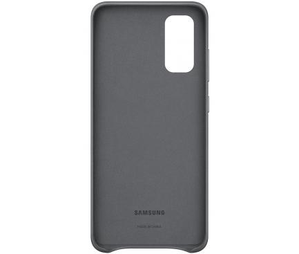 Husa Piele Samsung Galaxy S20 G980 / Samsung Galaxy S20 5G G981, Leather Cover, Gri, Blister EF-VG980LJEGEU