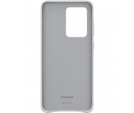 Husa Piele Samsung Galaxy S20 Ultra G988 / Samsung Galaxy S20 Ultra 5G G988, Leather Cover, Gri Deschis, Blister EF-VG988LSEGEU