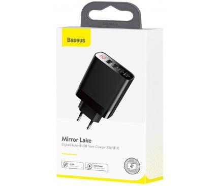 Incarcator Retea USB Baseus Mirror Lake Digital Display, 30W, 6A, 4 x USB, Negru, Blister CCJMHB-B01
